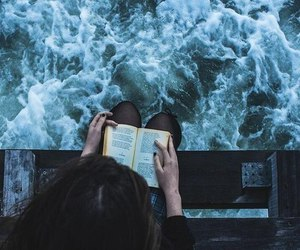 book, girl, and sea image
