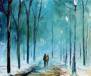 art, winter, and painting image