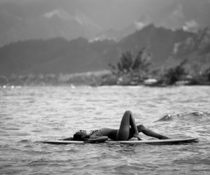 black and white, girl, and surf image