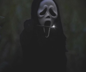 white, ghostface, and black image