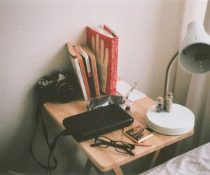 book, camera, and hipster image