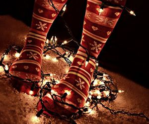light, christmas, and socks image