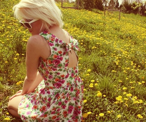flowers, blonde, and dress image