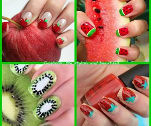 nails, apple, and fruit image