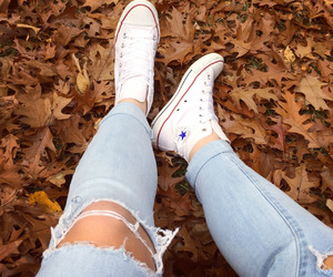 converse, jeans, and ripped image