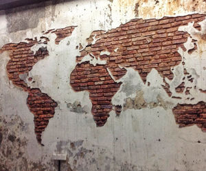 world, wall, and art image