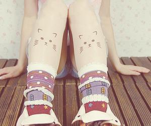 socks, cat, and fashion image