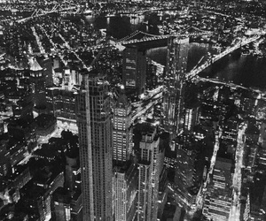 city, city lights, and empire state building image