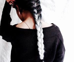 hair, braid, and black image