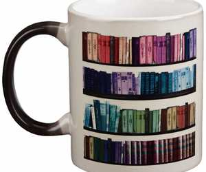 book, bookshelf, and coffee image
