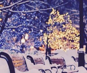 snow, winter, and christmas night image