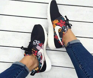 black, shoes, and flowers image