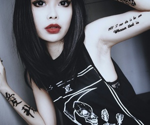 girl, tattoo, and black image