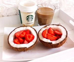 strawberry, starbucks, and food image