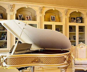 gold, mansion, and piano image