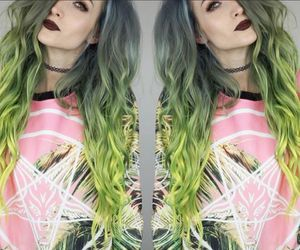colorful hair, dyed hair, and neon hair image