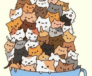 cat, kawaii, and cup image