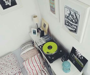 bed, gramophone, and music image