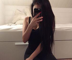 black, hair, and night image