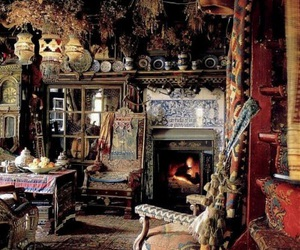 fire place, oriental rugs, and cozy place image