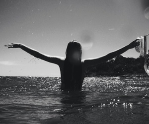 summer, black and white, and sea image