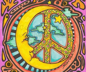 peace, moon, and art image