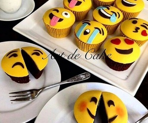 food, emoji, and cupcake image