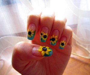 nails, flowers, and sunflower image