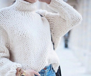 jeans, jewelry, and white sweater image