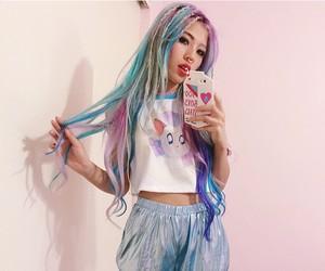 blue, rainbow hair, and colorful hair image