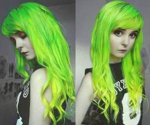 dyed hair, green hair, and neon hair image