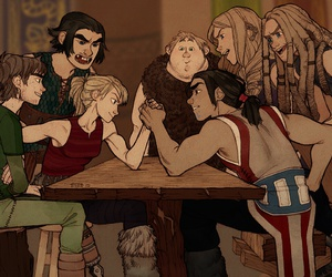 arm wrestling, astrid, and hiccup image