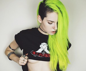 boobs, emo, and neon hair image