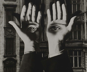 eyes, hands, and black and white image