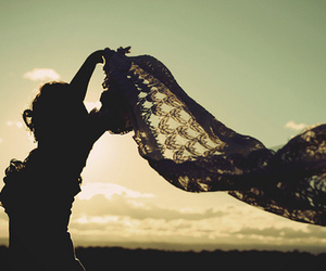 girl, wind, and sunset image