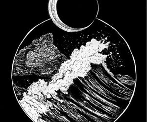 moon, art, and sea image