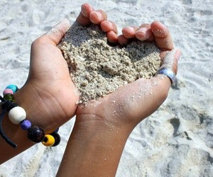 heart, sand, and love image