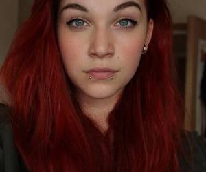 hair, piercing, and red image