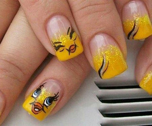 nails, yellow, and Tweety image