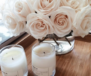 flowers, roses, and candle image