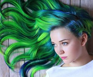 dyed hair, colorful hair, and green hair image