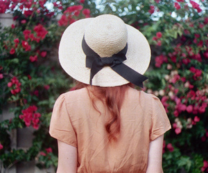 girl, hat, and flowers image