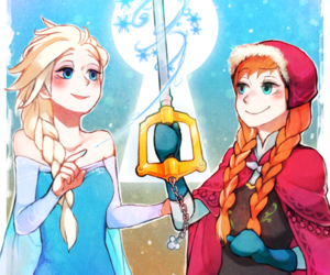 anna, frozen, and kingdom hearts image