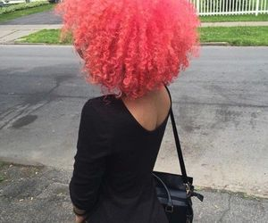 pink hair, black, and curly image