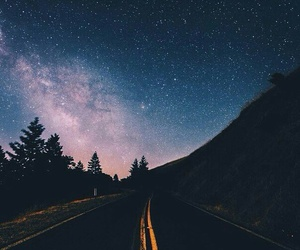 road, stars, and sky image