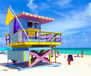 florida and lifeguard stand in miami image