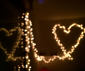 heart, lights, and two image