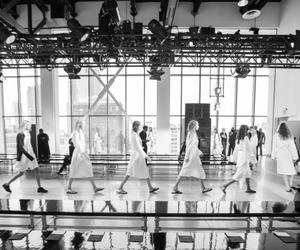 black and white, model, and runway image