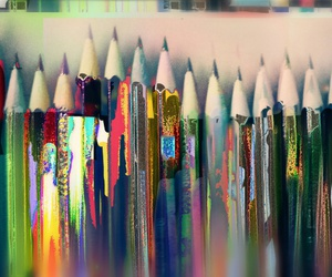 ♡, colorful, and pencils image