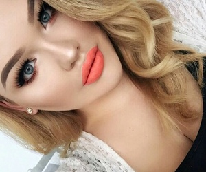 makeup, coral, and lipstick image